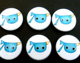 """6 blue  Bird Buttons.  Primitive or Folk Art Bird Buttons.  3/4"""" = 20 mm"""