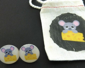 "Mouse  Earrings. Post or Stud Earrings.  5/8"" or 16 mm Round.   With decorated Gift Bag."