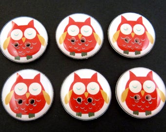 "6 Owl buttons.  Red Owl handmade buttons. Sewing Buttons.  3/4"" = 20 mm."