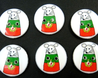"""6 Christmas Candy Corn Mouse.  My Original Image . 3/4"""" or 20 mm.  Two Hole Sewing buttons. Washer and Dryer Safe."""