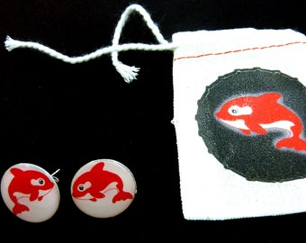 """Red Killer Whale Earrings. Post or Stud Earrings.  5/8"""" or 16 mm Round.   With decorated Gift Bag."""