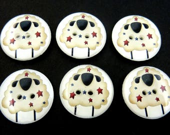 6 Handmade Americana Primitive Sheep buttons.  Red and Blue Star Primitive Sheep.  Choose Your Size.