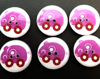 6 Purple Mouse Toy or Animal Car Buttons. Handmade Decorative Novelty Buttons.  Knitting, sewing or crafting buttons.