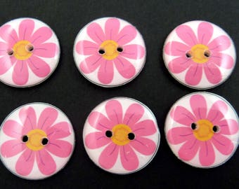 "6 Pink Flower  Buttons.  3/4"" or 20 mm. Handmade By Me.  Washer and Dryer Safe."