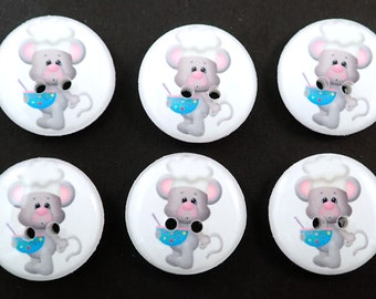 6 Cute Chef or Cook Mouse Buttons.  Mouse with Mixing Bowl. Choose Your Size