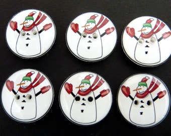 6 Red Primitive  Snowman Buttons for Sewing, Knitting, Crochet . Handmade.  1 inch, 3/4 inch, 5/8 inch (25 mm, 20 mm, 16 mm)