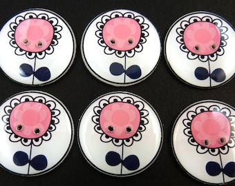 6 Flower buttons. Handmade Buttons.   Pink and Black Flower Buttons for Sewing or Knitting. Pick Your size.