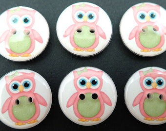 """6 Owl buttons. Pink and Green Owls handmade buttons. 3/4"""" or 20 mm Buttons for Sewing."""
