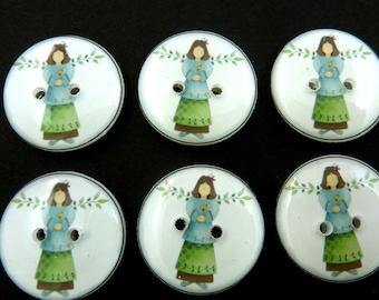 """6 Garden Angel Buttons.  3/4"""" - 20 mm."""