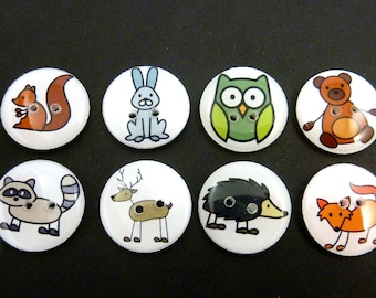 8 Woodland Stick Animal  Buttons.   Raccoon, Rabbit, Squirrel, Bear, Fox and Deer and more!  Choose Your Size.
