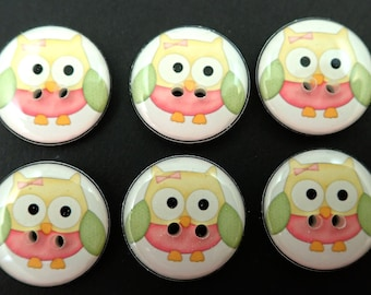 6  Owl buttons. Pink, Yellow and Green Owls handmade buttons fpr Sewing, Knitting or Crochet.