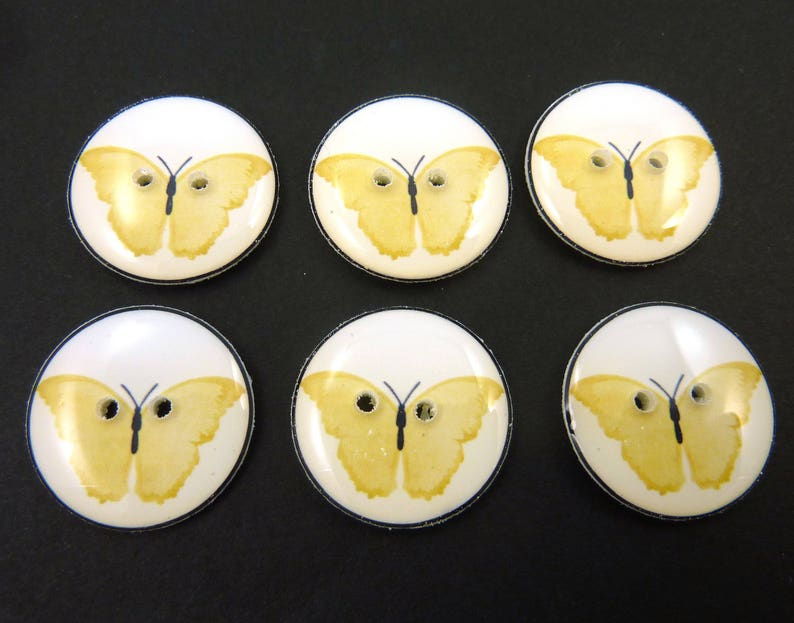 6 Yellow Butterfly Buttons for Sewing. image 0