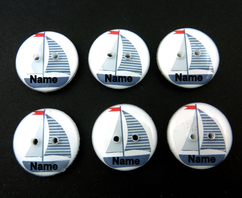 6 Personalized Grey Sailboat buttons. Handmade buttons. Sewing image 0