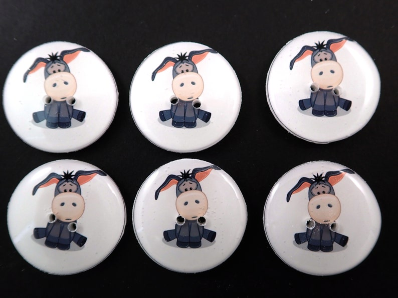 6 Donkey Buttons for Sewing Knitting Crochet. image 0