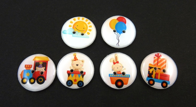 6 Party Train Buttons.  Handmade Buttons.  Sewing Buttons. image 0