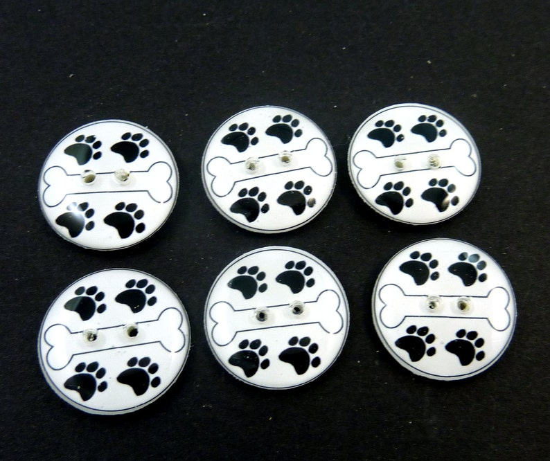 6 Dog Bone Buttons. Handmade Buttons.   Dog Bone and Paw Print image 0