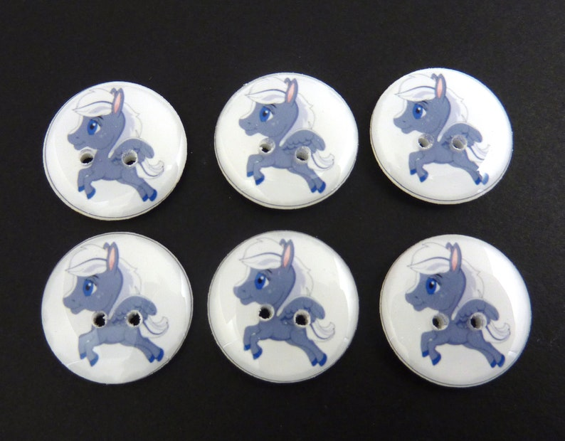 6 Grey Pegasus Buttons.  Flying or Winged Horse Handmade image 0