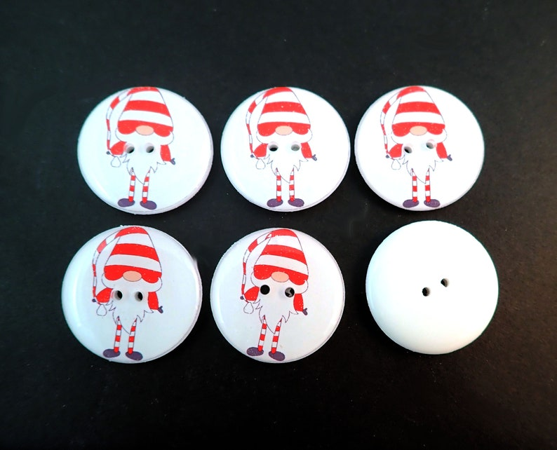 6 Cute Handmade Red and White Striped Gnome Sewing Buttons Choose Your Size.