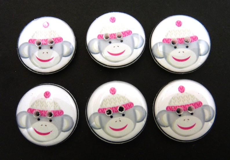 6 Pink and Grey Sock Monkey Buttons. Handmade Buttons.  Sock image 0