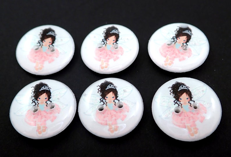 6 Pink Fairy Buttons.  Glitter Wings. image 0