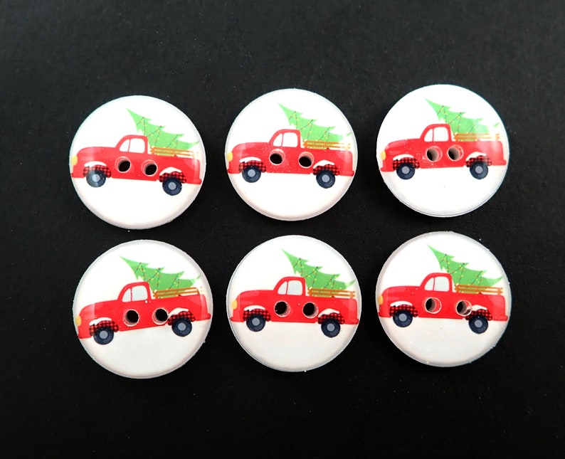 6 Red Truck and Christmas Tree Christmas Buttons for Sewing image 0