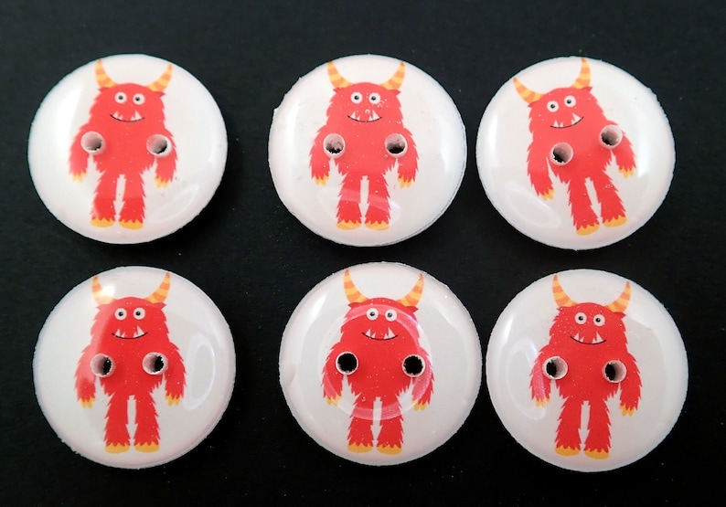 6 Red Monster Buttons for Sewing. image 0