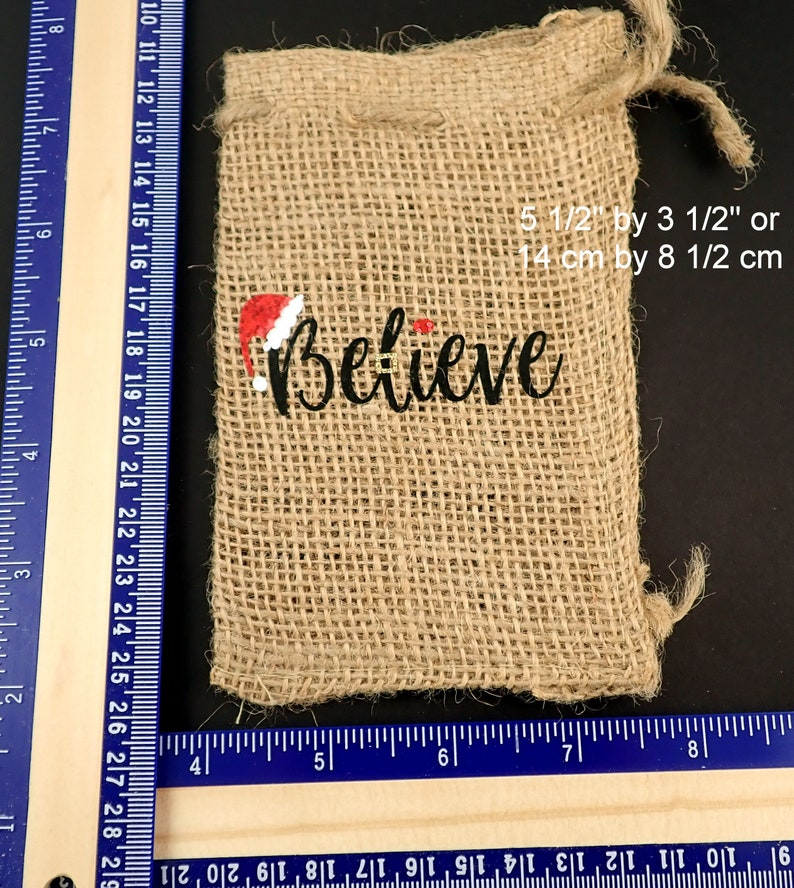 ONE Small Believe Christmas Gift Bag Choose Your Material. Reusable Burlap or Cotton Gift Bag