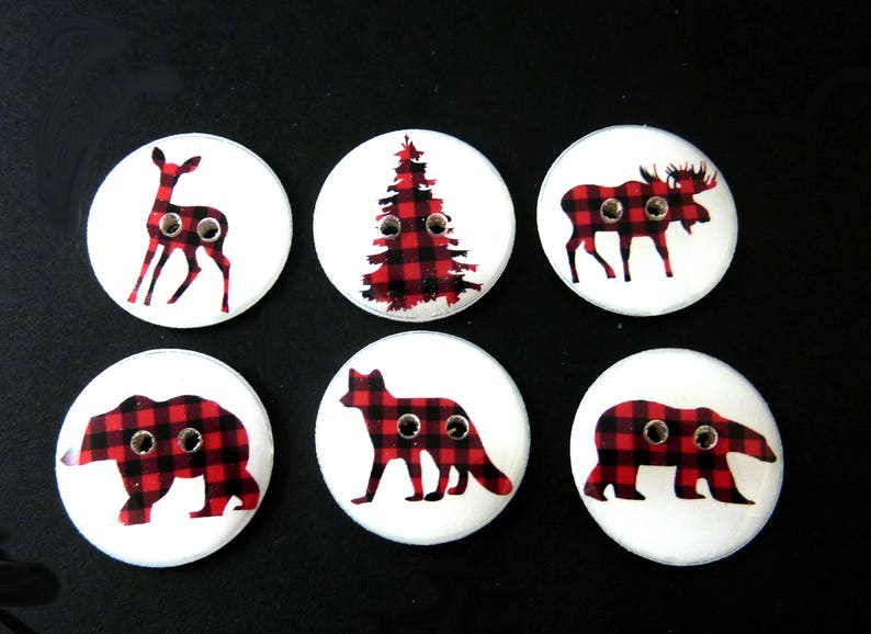 6 Woodland Animal Sewing Buttons .  Red and Black Plaid.  Fox image 0