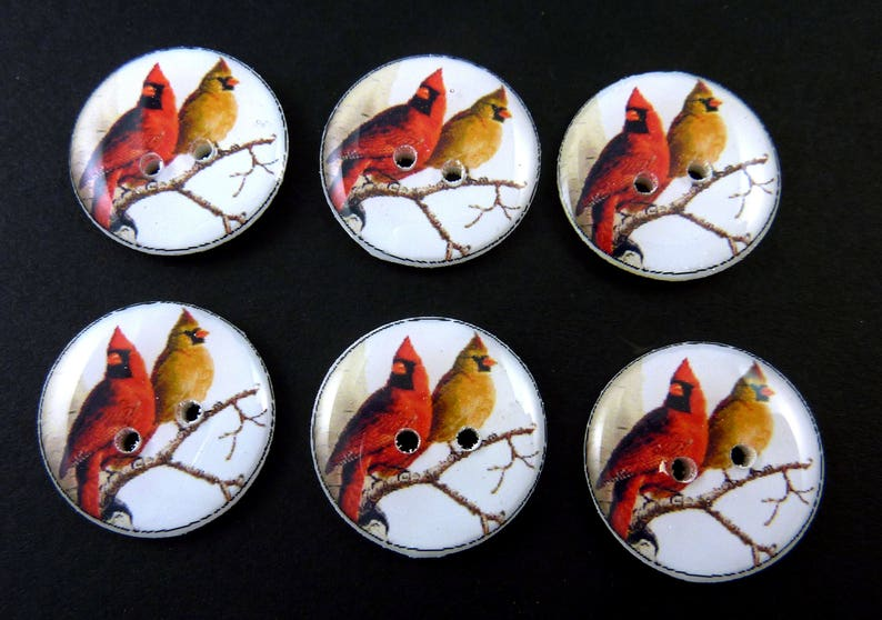 6 Cardinal Buttons. Handmade Sewing Buttons. image 0