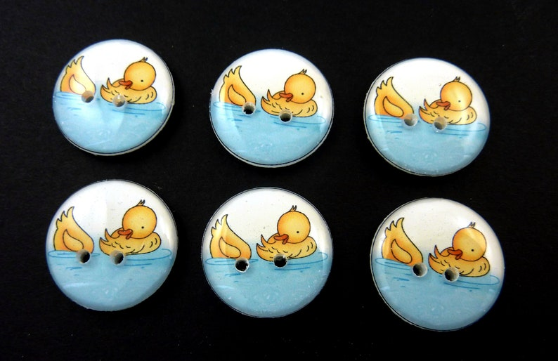 6  Duck buttons.  Buttons. Craft or Sewing Supplies. image 0