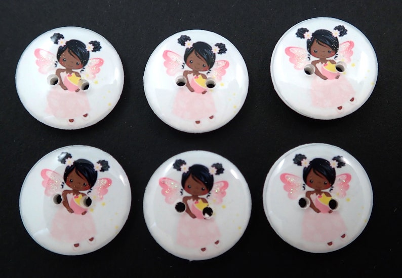 6 African American Pink Fairy Buttons.  Glittery Fairy Wings. image 0