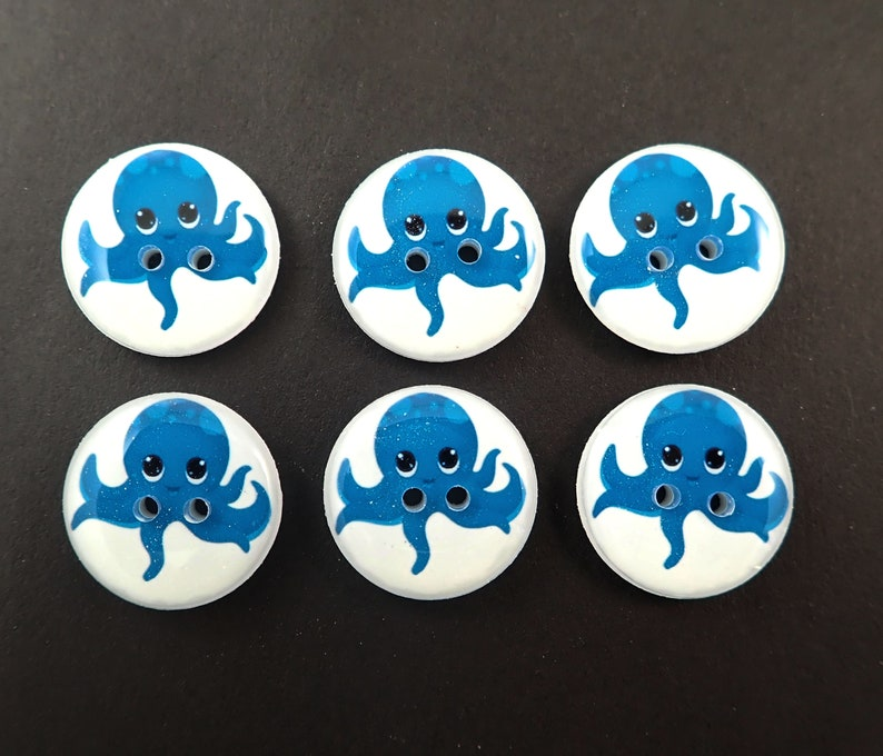 6 Teal Blue and Octopus Buttons.  Handmade buttons for Sewing. image 0