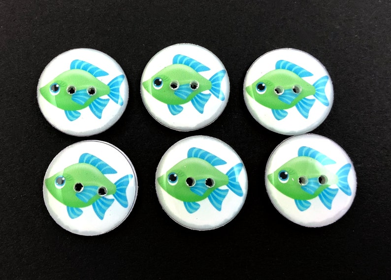 6 Blue and Green Fish Buttons for Sewing Choose Your Size.