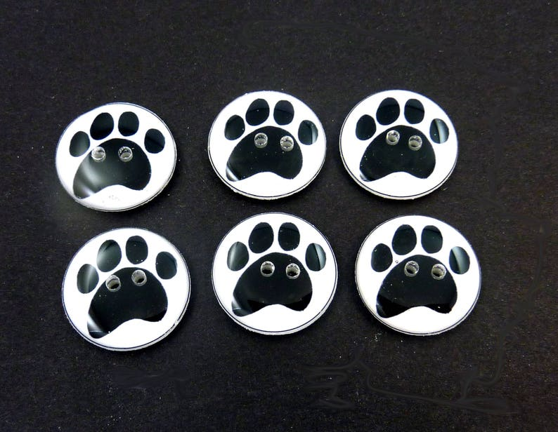 6 Dog Paw Buttons. Handmade Buttons.  Choose Your Size. image 0