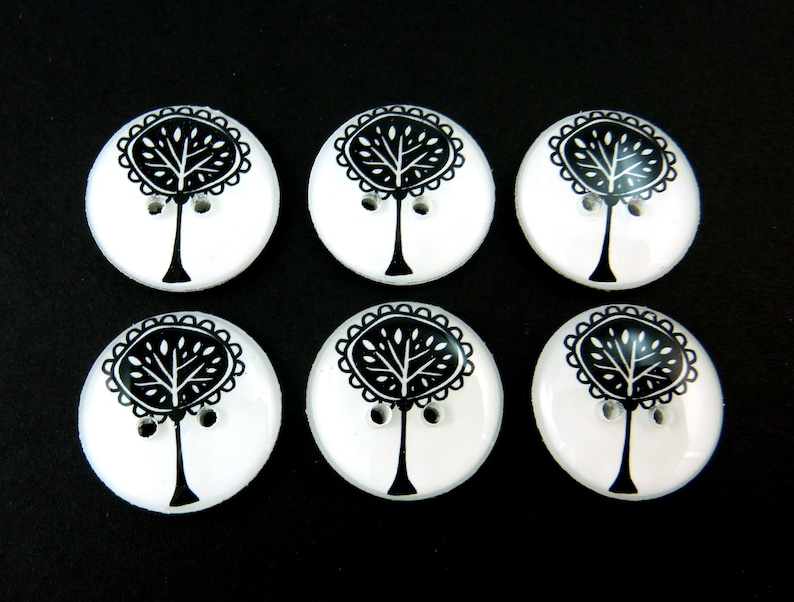 6 Black and White Tree buttons.