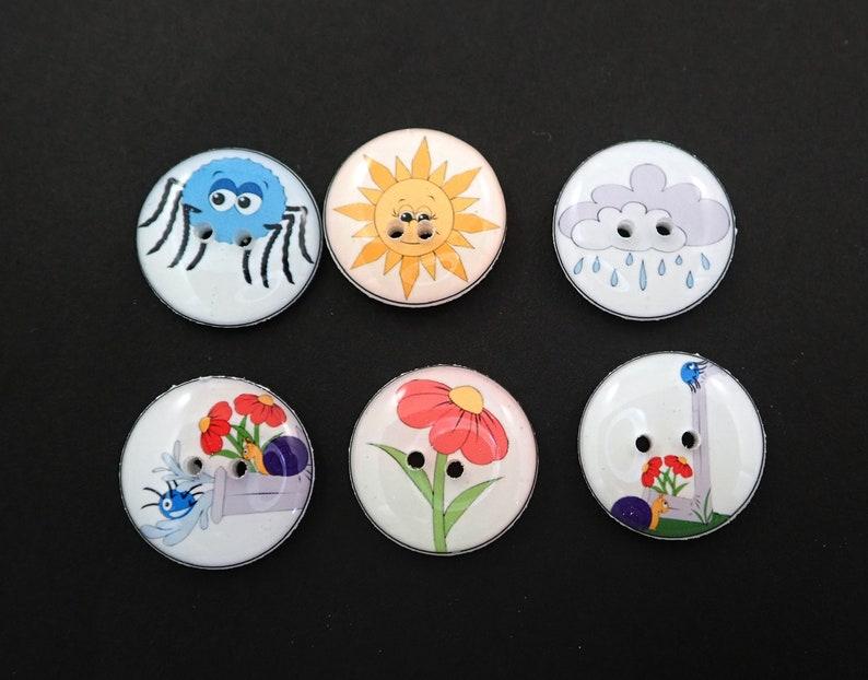6 Itsy Bitsy Spider Buttons.  Itsy Bitsy Spider Children's image 0