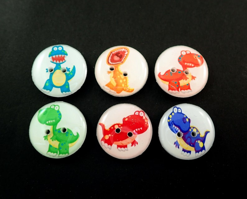 6 Dinosaur Buttons.  Bright and Colourful Prehistoric Dinosaur image 0