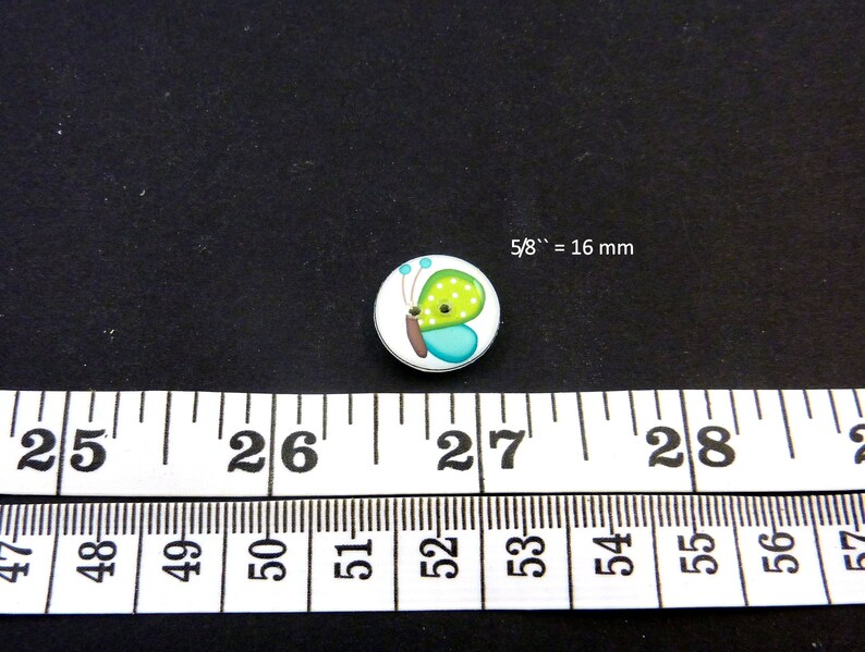 Decorative Craft Novelty Sewing buttons. Green and Turquoise blue  Butterfly Handmade Buttons for sewing 6 Butterfly Buttons