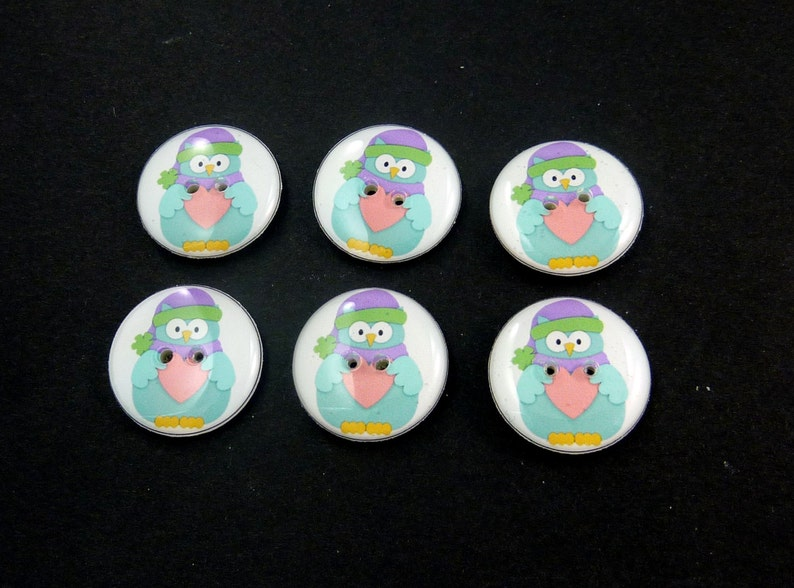 6 Blue Owl Buttons. Handmade Decorative Sewing Buttons. Great image 0