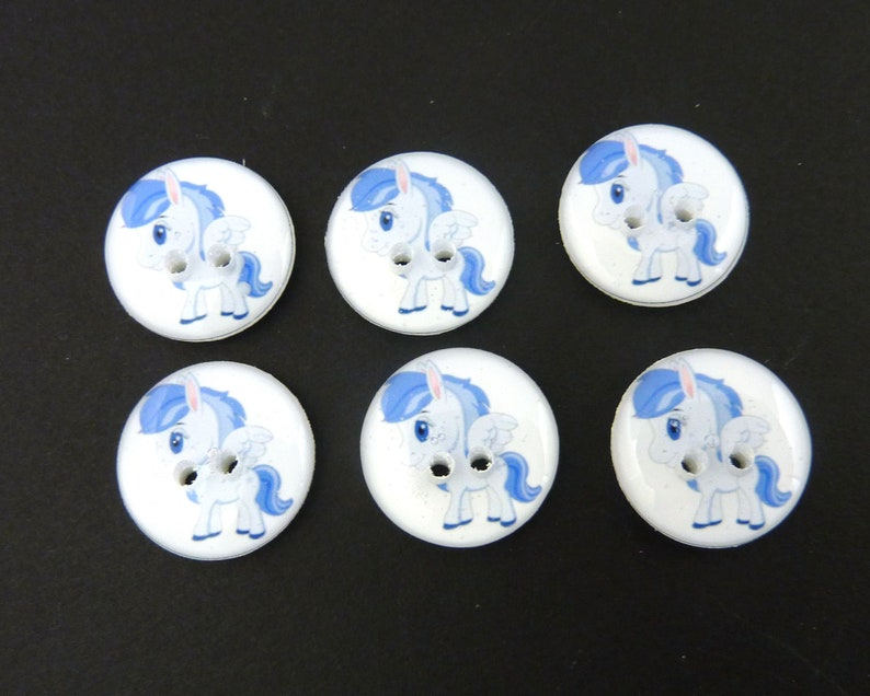 6 Blue Pegasus Buttons.  Flying or Winged Horse Handmade image 0