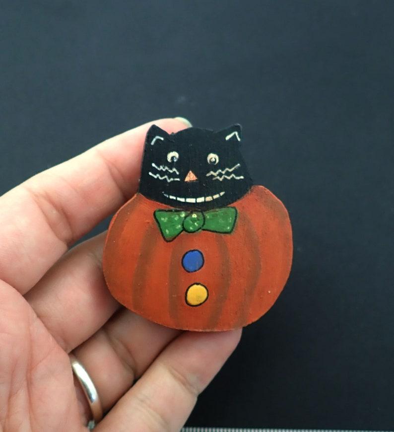 Hand Painted Wooden Cat in Pumpkin Halloween Pin or Brooch.