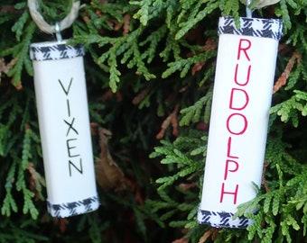"9 Handmade Handmade Painted Christmas Ornaments.  Reindeer Names Hanging Christmas Tree Decorations.  2 1/2"" or 6 cm tall."