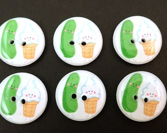 """6 Pickle and Ice Cream  Buttons. Handmade Buttons. 3/4"""" or 20 mm."""