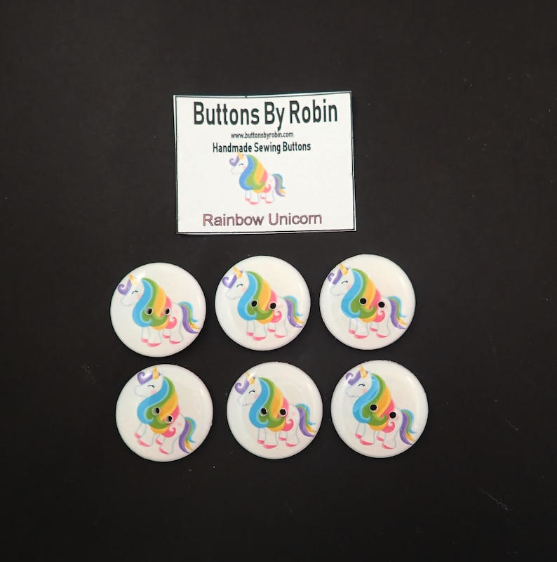 6 Rainbow Unicorn Buttons.  Choose Your Size. image 0