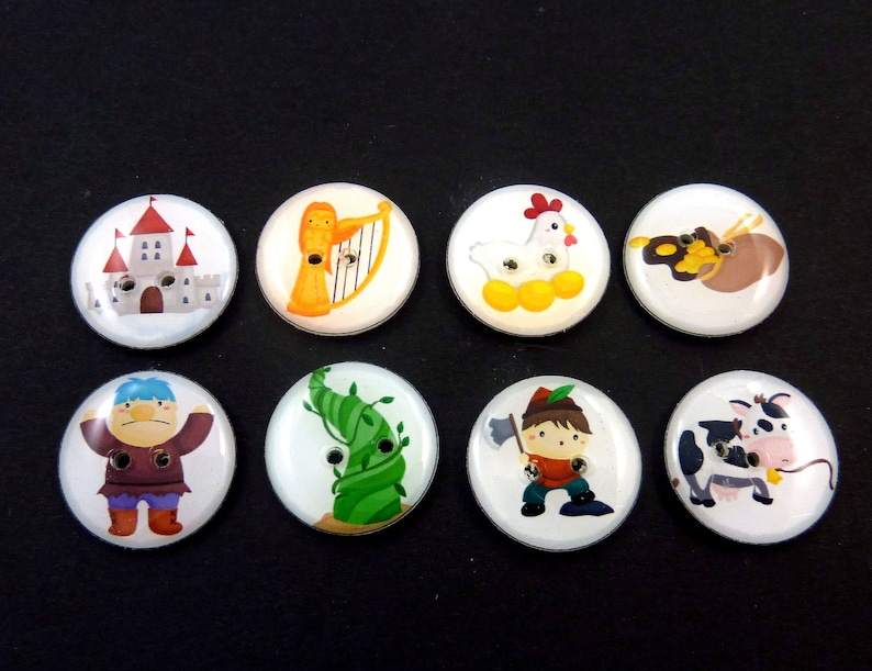 8 Jack and the Beanstalk Buttons.  Jack Giant Castle Hen image 0