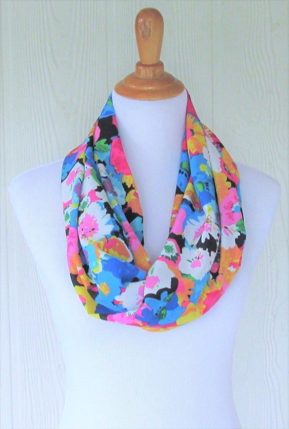 Infinity Scarf Jersey Chiffon Purple Water Colour Flowers Fashion Loop Scarves