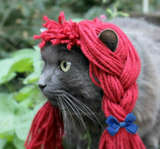 Raggedy Ann Wig - Rag Doll Yarn Wig for Cats and Small Dogs - Cat Halloween Costume - Pet Costume - Pet Photo Prop - Cat Costume
