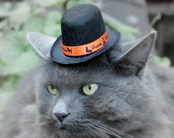 Pet Top Hat with Orange Ribbon - Halloween Cat Costume