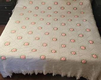 Bedspread  /'/'SPRING BUD/'/'  in Aruba Sea Throw King 104inWx90L Crochet Afghan - Blanket