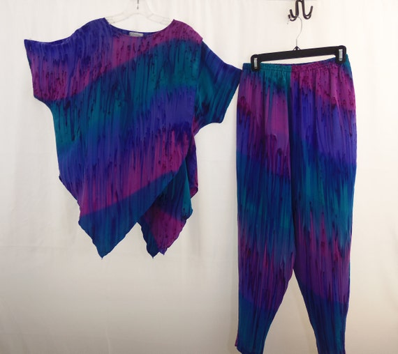 Hand painted silk pants and top one size